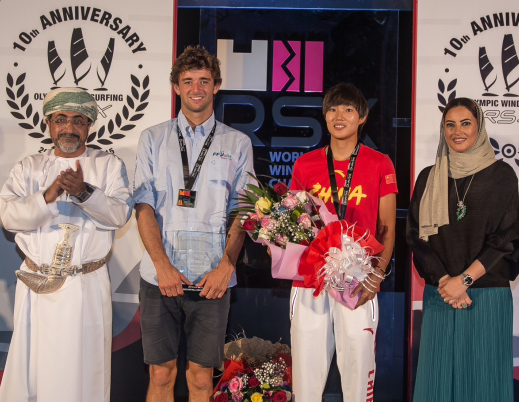 RS:X WORLD CHAMPIONSHIP 2015, October 17th-24th Al Mussanah Sports City, Sultanate. Prize giving ceremony.24th oct 2015.2015 absolute world champions, Pierre Le Coq and Peina Chen. Credit Jesus Renedo/Oman Sail