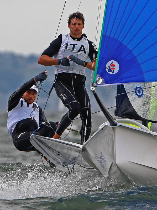 Flensburg Germany 25th of August 2015. ITA 26 Tita RUGGEROGiacomo CAVALLIfiamme gialle The most sophisticated event in olympic skiff sailing. The offspring of upcoming olympic decade is competing for U24 World Champion title. Foto © okPress Otto Kasch  Otto F.H. Kasch   Wolburgstr 49 D-23669 Tdf Strand  Tel: +49 4503 70 78 20  Mob: +49 172 42 86 299 Volksbank Eutin Tdf Strand BLZ: 213 922 18  Konto : 232 190