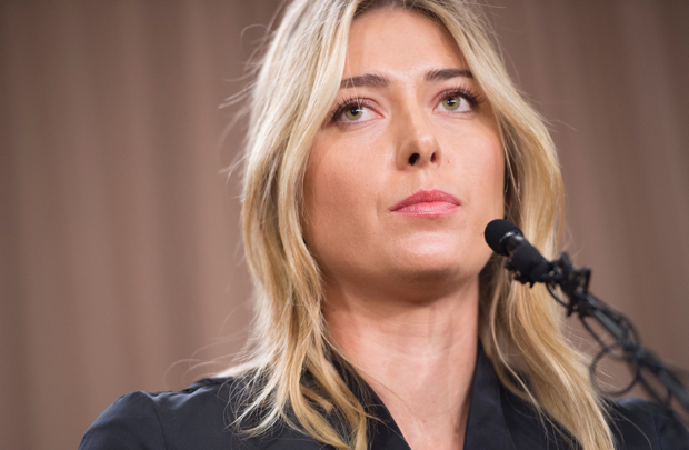 Russian tennis player Maria Sharapova speaks at a press conference in Los Angeles, on March 7, 2016. The former world number one announced she failed a doping test at the Australian Open, saying a change in the World-Anti-Doping Agency banned list led to the violation. Sharapova said she tested positive for Meldonium, a substance she had been taking since 2006 but one that was added to the banned list this year. / AFP / ROBYN BECK (Photo credit should read ROBYN BECK/AFP/Getty Images)